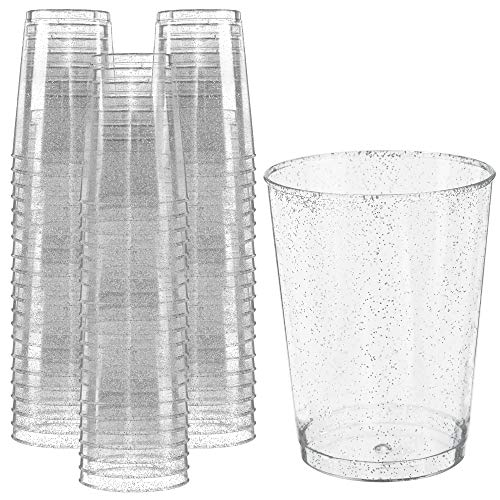 Glitter Disposable Cups | 10 oz. 50 Pack | Clear Plastic Cups | Silver Glitter Plastic Party Cups | Disposable Plastic Wine Glasses for Parties | Plastic Cocktail Glasses | Wedding Holiday Tumblers