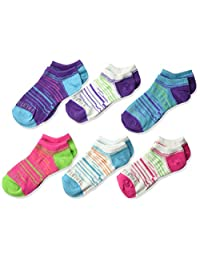 Fruit of the Loom Big Girl's 6 Pack Sport No Show Socks