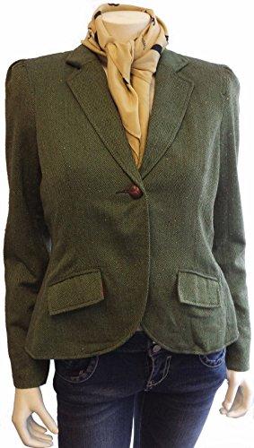Maxim's Collection Ladies Classic Wool Blend Tweed Blazer Jacket with Faux Suede Elbow (Irish Green Herringbone, M) - Irish Tweed Jackets
