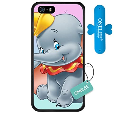 iPhone SE Case,Onelee [Scratchproof][Never Fade] Disney Cartoon Dumbo iPhone 5s Case Black Rubber(TPU) Tire tread pattern [Free One Touch Silicone (Rubber Iphone 5s Cases Disney)