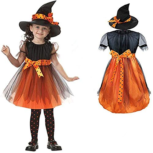 HILEELANG Little Girl Pageant Costume Halloween Cosplay Witch Holiday Party Dress + Hat ()