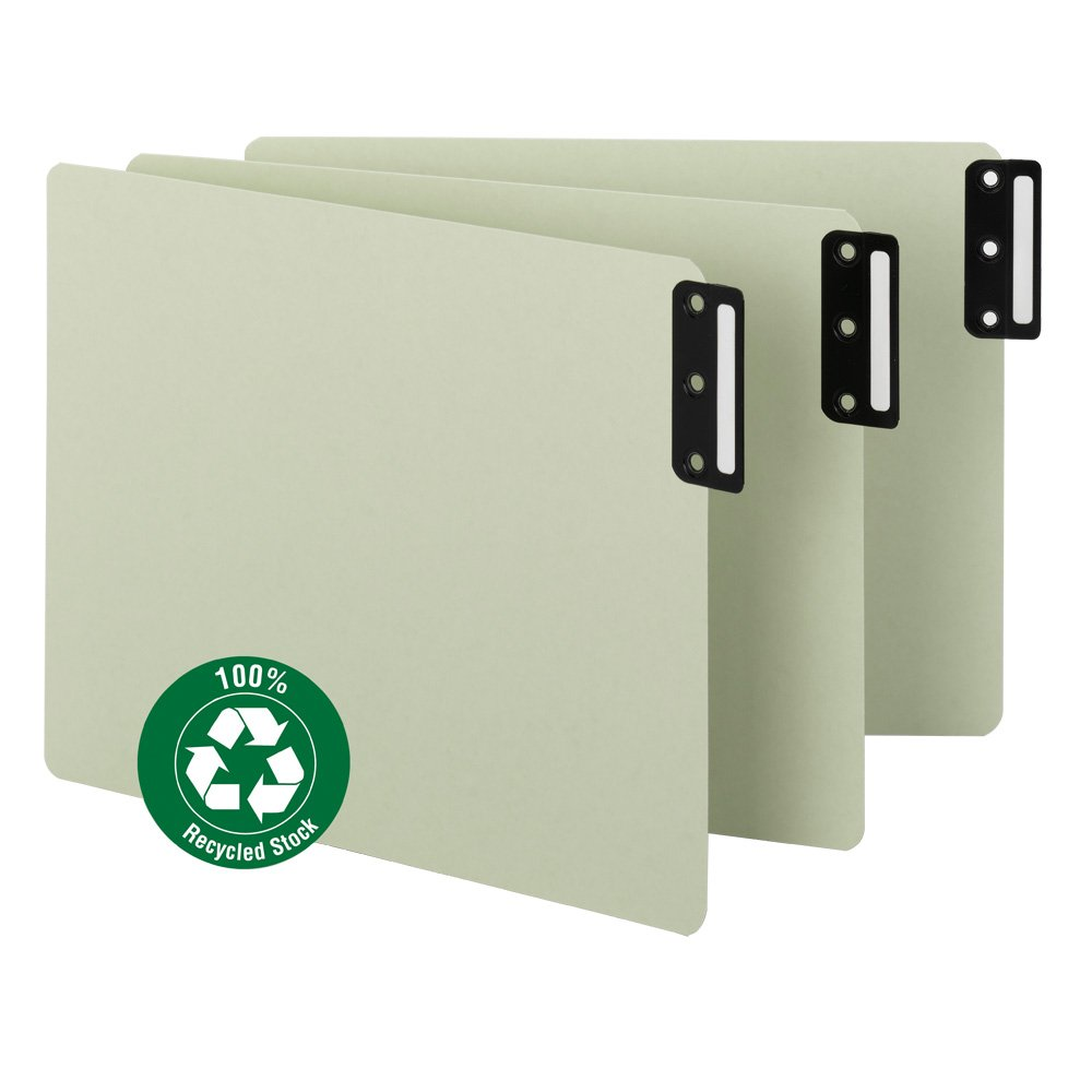 Smead 100% Recycled End Tab Pressboard File Guides, Vertical Metal Tab, Extra Wide Letter Size, Gray/Green, 50 per Box (61635)