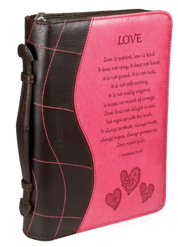 "Pink ""Love"" Large Bible / Book Cover - 1 Corinthians 13:4-8"
