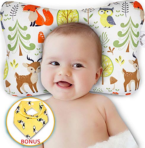 Baby Head Shaping Pillow - Flat Head & Reflux Prevention for Newborn Infants - Organic Cotton Hypoallergenic - 3D Breathable Air Mesh Neck Support - Machine Washable & Dry-able - Bib Shower Gift Set