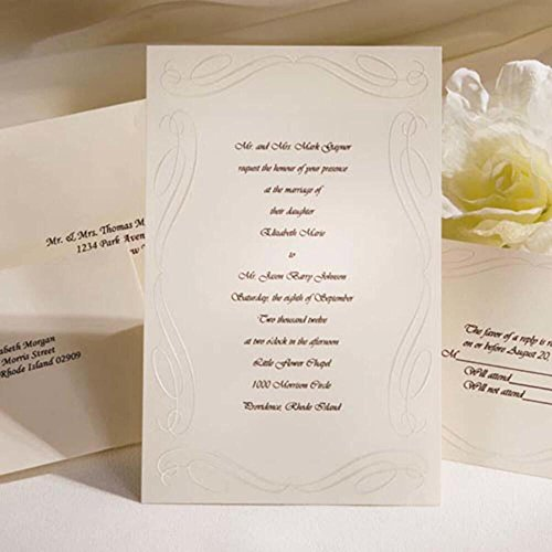 Simplicity Wedding Invitation - Wilton 50-Pack Love Beginnings Invite Kit, Ivory