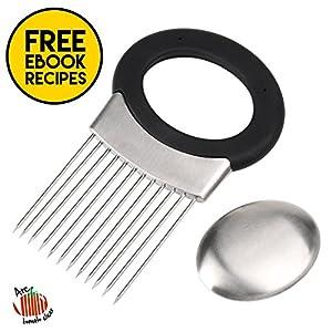 Multiuse Onion Holder 12 Stainless Steel Prongs Ergonomic Non Slip TPR Grip Handle Odor Remover Kitchen Tool Gadget Fruit Vegetable Slicer Cutter Chopper Peeler Meat Tenderiser with eBook