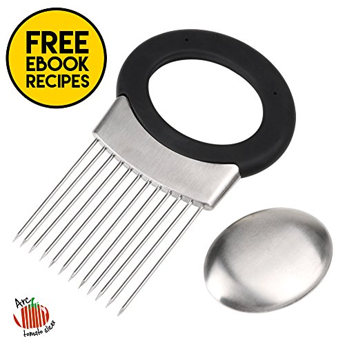 Multiuse Onion Holder 12 Stainless Steel Prongs Ergonomic Non Slip TPR Grip Handle Odor Remover Kitchen Tool Gadget Fruit Vegetable Slicer Cutter Chopper Peeler Meat Tenderiser with eBook