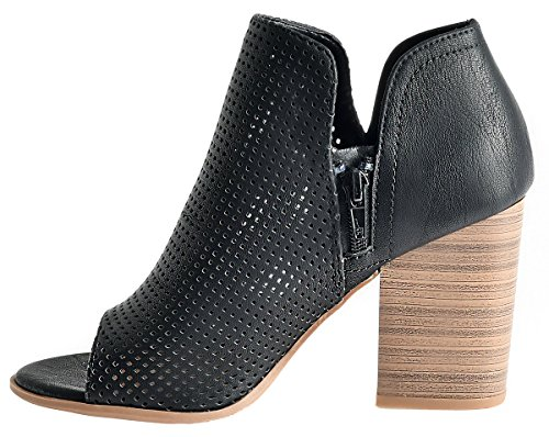 Peep Open Perforated Heel Crystal Bootie Black Women's Sandals O Stacked Toe LUSTHAVE wtEpXOqO
