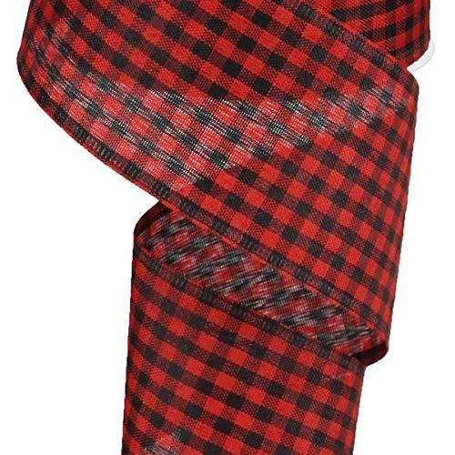 Wired Red Black Mini Check Lumberjack Christmas Ribbon, 2.5 Wide x 10 Yards