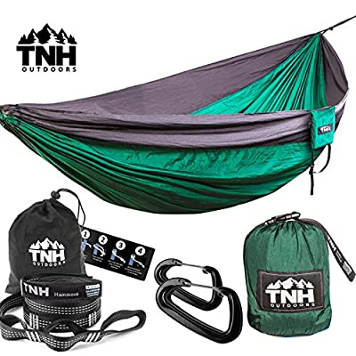 TNH Outdoors Premium Camping Hammock & Straps(9ft Straps With 10ft x 5ft Hammock)
