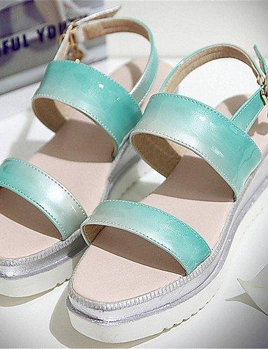 LFNLYX Zapatos de mujer-Tacón Plano-Cuñas-Sandalias-Boda / Vestido / Casual / Fiesta y Noche-Materiales Personalizados-Negro / Azul / Amarillo Green