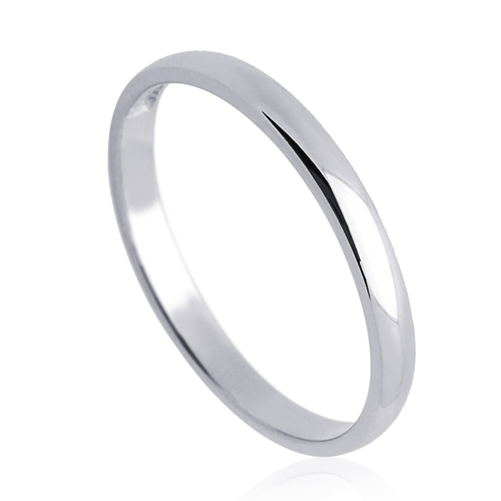 Double Accent 14K Yellow Gold or White Gold 2mm Comfort Fit Classic Domed Plain Wedding Band (Size 3 to 11.5), 10.5