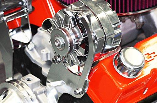 Alternator Bracket Driver - SBC Chevy Chrome Top High Mount Alternator Bracket Short Water Pump SWP Driver