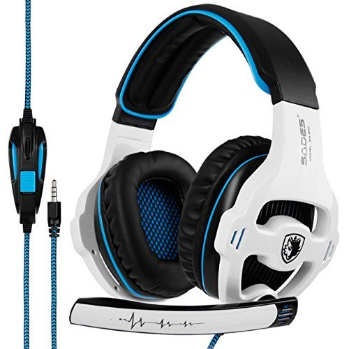 51mXTCiLB3L - Gaming Headset Xbox One, SADES SA810S Stereo Over-ear Noise Isolation Bass Gaming Headphones with Microphone for PS4 Laptop PC Mac Computer Smart Phones -White