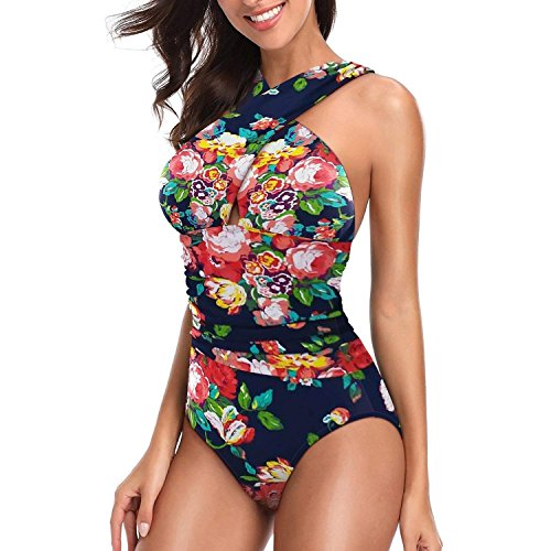 Womens One Piece Floral Swimsuits Front Criss Cross Backless Tummy Control Bathing Suits