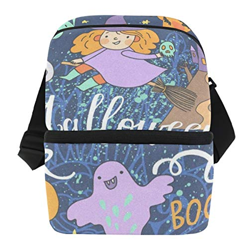 Lunch Bag Beautiful Halloween Reusable Cooler Bag Womens Leakproof Grocery Organizer Zipper Tote Bags for Work