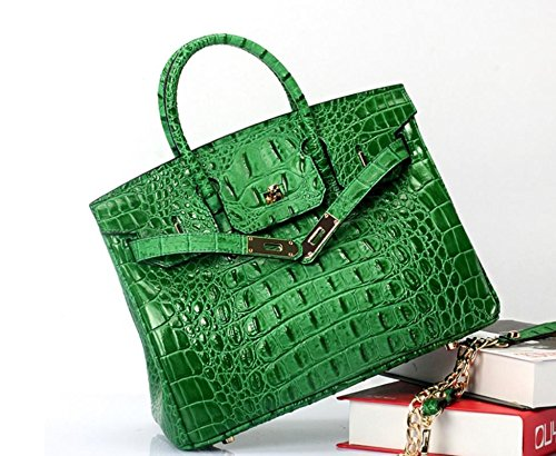 Vintage Alligator Birkin Style Bag Purse Tote Handbag (Green, 30cm - M) by Pristine&BB (Image #2)