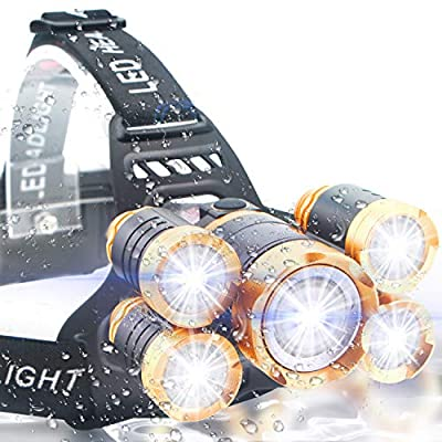 Soft Digits Headlamp, 6000 Lumen Ultra Bright 5 LED Headlight, USB Rechargeable Head Lamp Flashlight, 4 Modes Waterproof Zoomable Work Light for Outdoors, Household