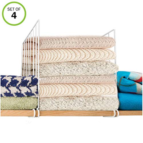 BELLARMOR 4 Pack Closet Shelf Dividers with 20 PSC Clothing Size Dividers for Closet Organizer, ()