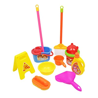 discountstore145 Pre-Kindergarten Toys Pretend Play Set 10Pcs Simulated Mop Broom Bucket Brush Cleaning Toy Set Imaginative Play for Kids Random Color: Home & Kitchen