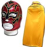 WRESTLING MASKS UK Men's Estrella Fancy Dress Luchador Wrestling Mask With Cape One Size Gold