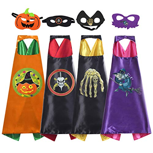 AUTOPDR Superhero Capes,Cartoon Dress Up Costumes Satin Capes with Felt Masks for Kids(4 Capes) -