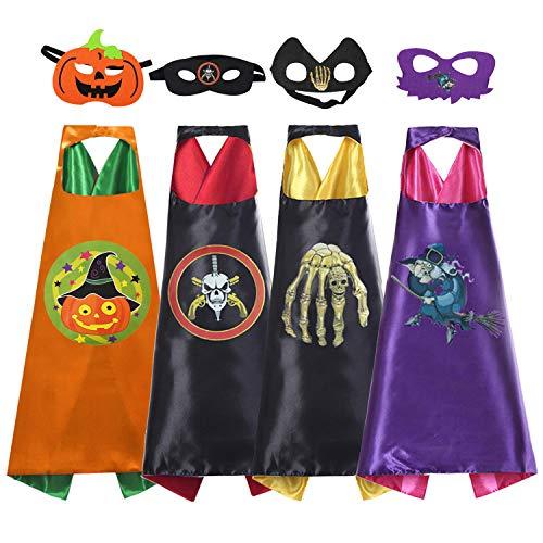 Kids Superhero Capes,Cartoon Dress Up Costumes Satin Capes with Felt Masks for Kids(4 Capes) -