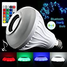 Grandey Smart RGBW Wireless Bluetooth Speaker Bulb Music Playing Dimmable E27 LED Bulb Light Lamp with 24 Keys Remote Control (E27)