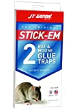 JT Eaton 155N Stick-Em Pre-Baited Rat and Mouse Size Peanut Butter Scented Glue Trap, 2-Pack