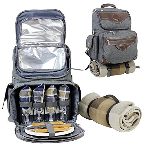 Insulated Picnic Backpack - INNO STAGE Insulated Picnic Backpack for 4, Hiking & Camping Back Pack Set with Separated Cooler Tote Win Picnic Bag,Movable Dinner Set Carrier,Plates,Cutlery and Waterproof Picnic Blanket