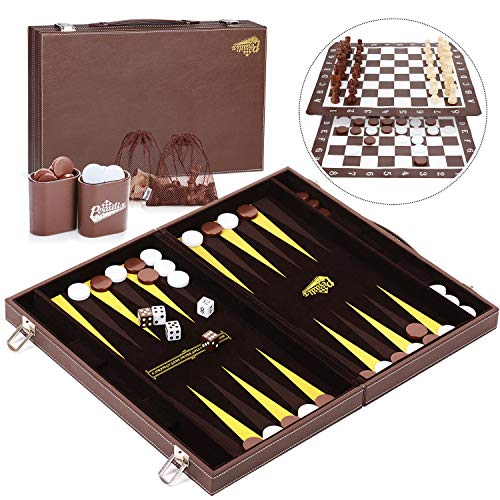Peradix Leather Backgammon Set, Foldable 3 in 1 Chess Checkers Backgammon Set with Portable Handle Case, Roll-Up Chess Board, Medium-Large Size in 18'x15'