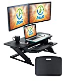 iMovR ZipLift+ HD 42'' wide Standing Desk Converter with Ergonomic Tilting Keyboard Tray in Black with EverMat Portable Standing Mat