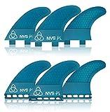 Naked Viking Surf Medium JL Thruster Surfboard Fins (Set of 3) Blue, FCS Base