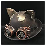 Vintage Lolita Women's Steampunk Dome Hat Glasses Top Hat Top Cosplay Hat jdon-hats, (Color : Black JD, Size : 57-58CM)