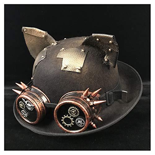Top Chapeaux Bowler Cosplay Hommes Jiurui Chapeau Topper Et De Dôme Lunettes Jd Luxe Casquettes Black Steampunk Wome 6Fw1wdcq
