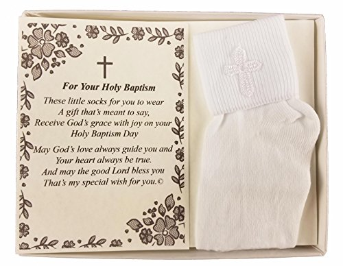 Wedding Collectibles Baptism Keepsake Gift Poetry Baby Boy Socks with Embroidered Cross Design (Size: Age 1-2)
