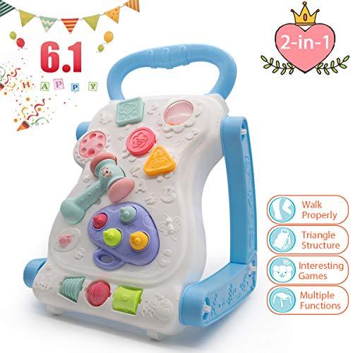 (FRUITEAM 2-in-1 Baby Walker, Activity Walker for Baby, Sit-to-Stand Learning Walker (Bule))