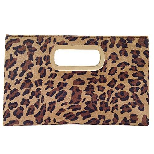 Leopard Print Faux Fur Top Handle Clutch, - Womens Handbag Fur