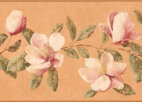 (Dark Pink White Magnolia Blossom Honey Orange Wallpaper Border Retro Design, Roll 15' x 9