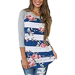 CEASIKERY Womens Blouse 3/4 Sleeve Floral Print T-Shirt Comfy Casual Tops For Women Blue Plus white (US 18-20) XX-Large