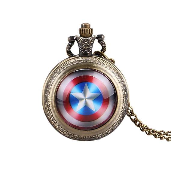 Moderno Reloj de Bolsillo, Escudo del Capitán América Reloj de Bolsillo de Cuarzo para Hombres, Colgante de Estrella, Mini Reloj de Bolsillo Regalo: ...