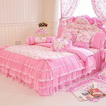 MeMoreCool Home Textile Elegant Design Pastoral Style Floral Lace Princess Bedding Set Girly Ruffle Duvet Cover