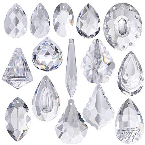 H&D 15pcs Clear Crystal Chandelier Lamp Lighting Drops Pendants Balls Prisms Hanging Glass Prisms Parts Suncatcher Home/House Decor