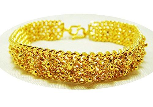 22k Gold Bangles - Pikun Flower Bracelet 24k Thai Baht Yellow Gold Plated Filled Bangle 2