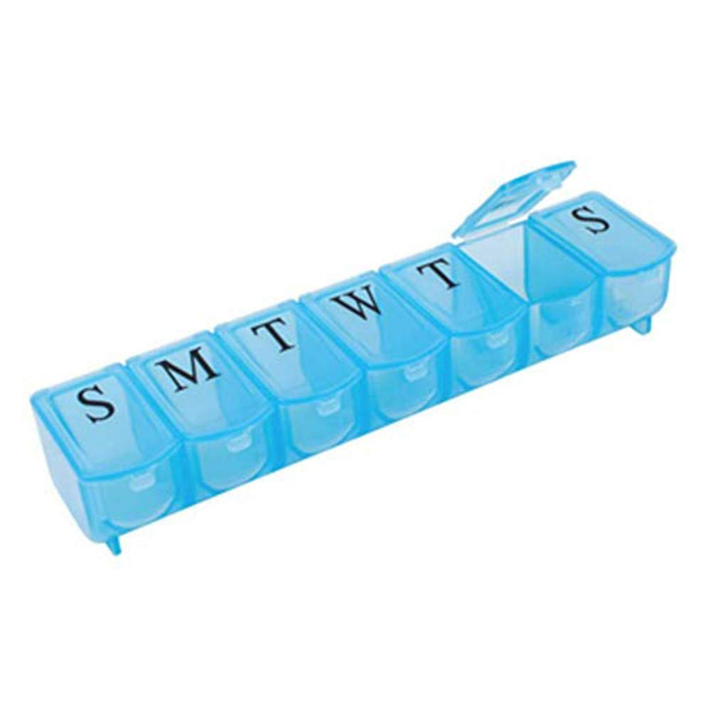 Pill Box, FIN86 Cute Mini Pill Box 7 Days Medicine Tablet Dispenser Organizer Weekly Storage Case for Travel Outdoor Office (Blue)