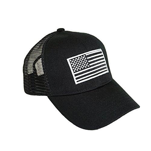 USA Flag Embroidery Mesh Hat Adjustable Summer American Indpendence Cool Patrotic Baseball Cap (Black) (American Trucker Hat)