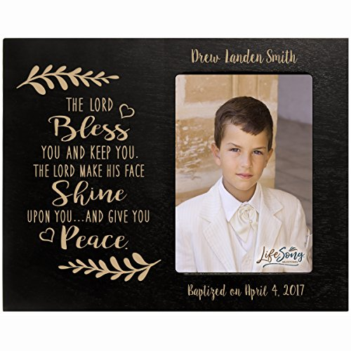 LifeSong Milestones Personalized Gift for Baptism First Holy Communion Confirmation Photo Frame The Lord Bless You and Keep You. Maple Picture Frame Holds 4x6 Photo (Black)