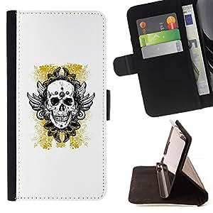 Momo Phone Case / Flip Funda de Cuero Case Cover - Oro amarillo del motorista de la tinta del tatuaje de cráneo - Samsung Galaxy S6 EDGE