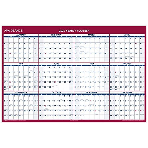 2020 Jumbo Dry Erase Calendar, AT-A-GLANCE Erasable Wall Planner, 48 x 32, Double Sided, Vertical, Horizontal (PM326P28)