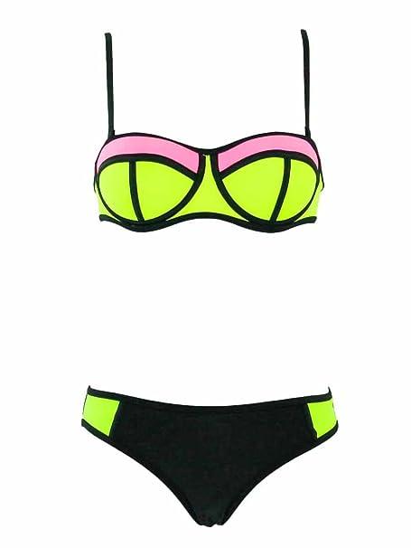 f851691787 Swimsuit Carla Bikini 2 Pieces Balconnet New Wave Rose et Jaune Fluo ...
